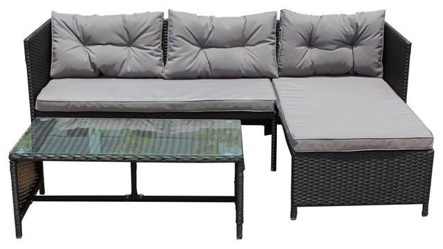 Rattan Wicker 3 Piece Indoor Outdoor Sectional Furniture Set Black