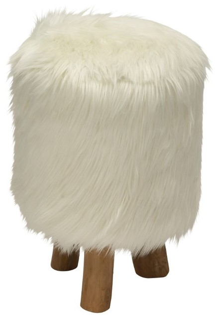 attractive wood faux fur stool round white