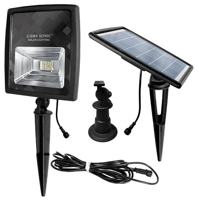 """Gama Sonic 203001-5 8"""" Wide Solar Powered 3100K LED Flood Light"""