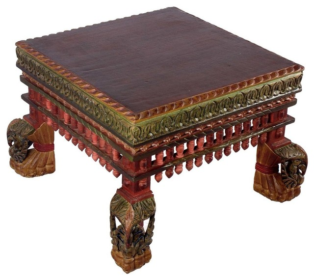 Wooden Table With Peacock Design Legs, Colorful Finish