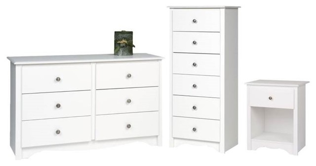 3 Piece Set with Nightstand Dresser and Lingerie Chest in White