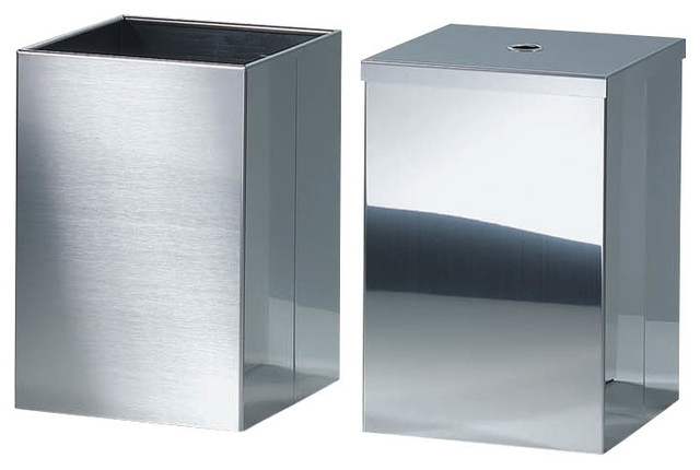 Harmony Waste Basket With Cover In Polished Stainless