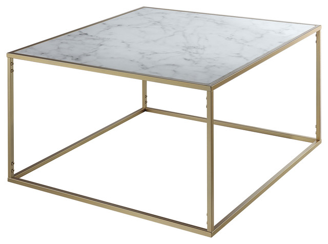 Gold Coast Faux Marble Coffee Table Contemporary Coffee Tables