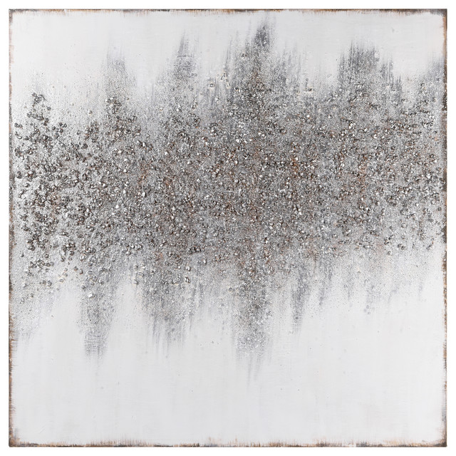 Silver Dust Abstract Textured Metallic Hand Painted Wall Art by Martin Edwards