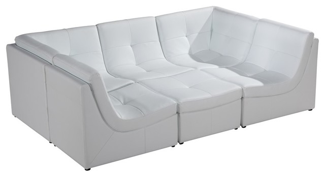 Soflex San Diego Modern White Faux Leather Sectional Modular Sofa