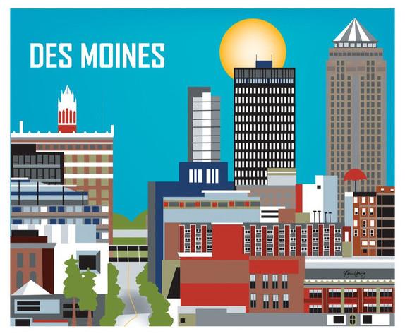 Des Moines Iowa Horizontal Skyline Print Modern Home Decor By Loose Petals Llc