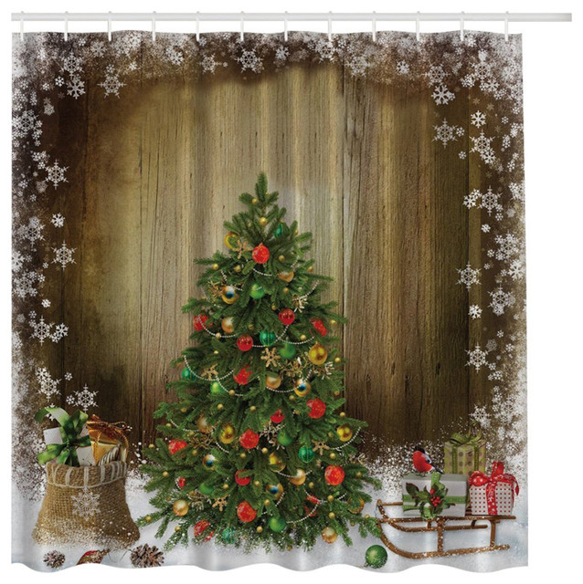 Vintage Christmas Tree with Presents on Brown Fabric Shower Curtain  traditional-shower-curtains - Vintage Christmas Tree With Presents On Brown Fabric Shower