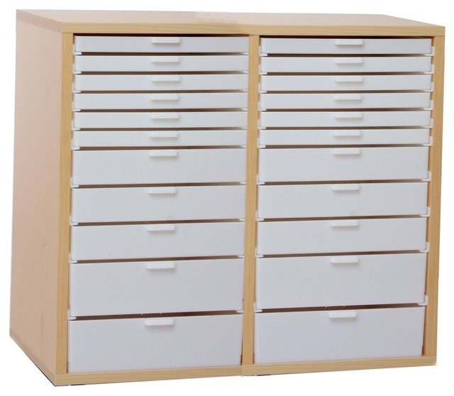 Double Wide Kit V, Maple Cabinet With White Drawers.