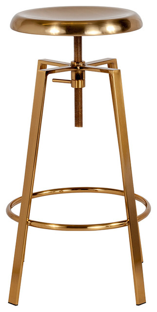 Toledo Industrial Style Barstool with Swivel Lift Adjustable Height Seat, Gold