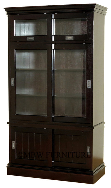 ... Espresso Bookcase Display Cabinet - China Cabinets And Hutches | Houzz