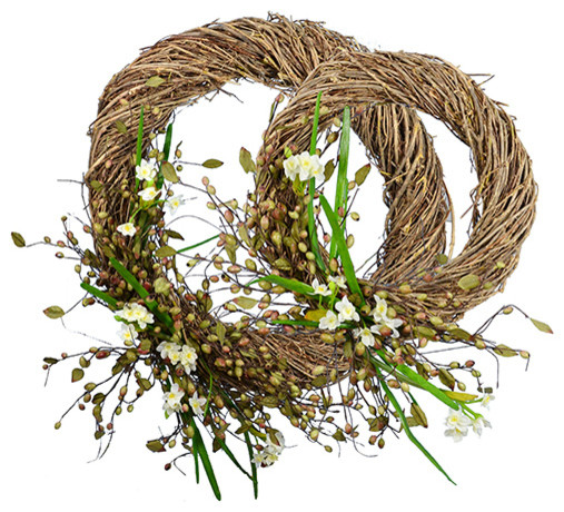 """18"""" And 28"""" Narcissus Wreath, Set Of 2."""