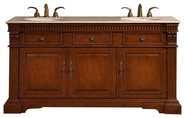 Rockefeller Double Sink Bathroom Vanity, Travertine Top.