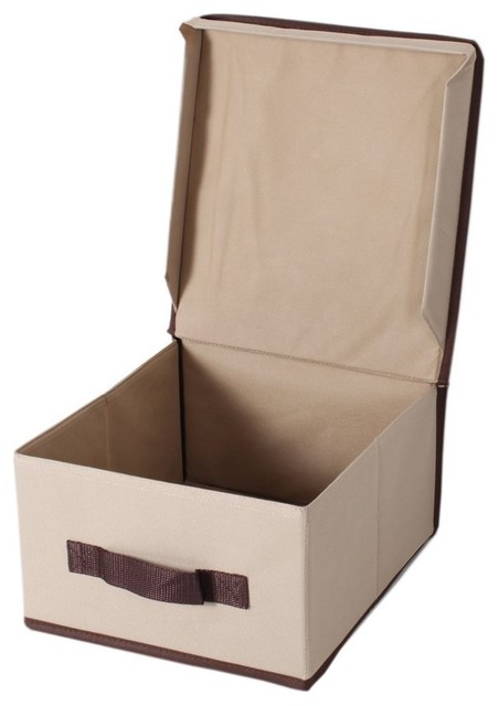 Beau Storagemaniac Foldable Canvas Storage Box With Lid, Set Of 3, Medium