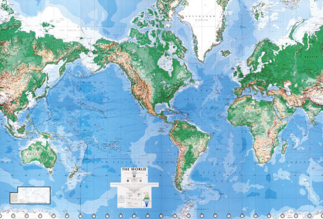 Environmental Graphics C900 Executive World Map Wall Mural, Writable-Wipe Off.