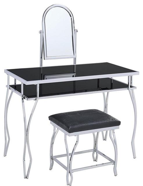 Acme Carene Vanity Set, Black and Chrome
