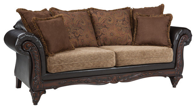 Coaster Fabric Sofa With Russet And Chocolate.