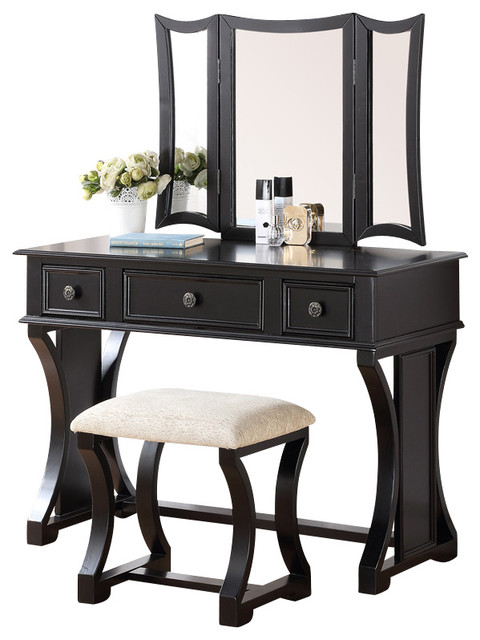 curved design 3 panel mirror vanity with stool drawer 10855 | farmhouse bedroom and makeup vanities