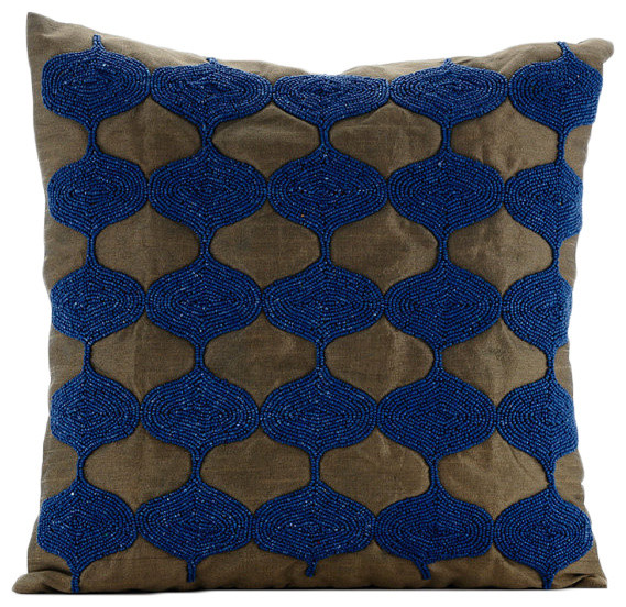 Blue Beaded Throw Pillow : Beaded Lattice Trellis Blue Art Silk 16x16 Throw Pillow Cover, Living Blue Tops - Decorative ...