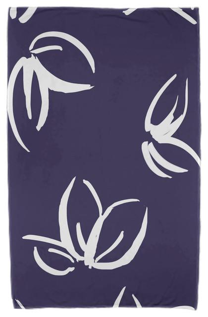 30x60 Eva, Floral Print Beach Towel, Navy Blue.