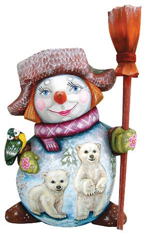 Polar Bear Family, Woodcarved Figurine.