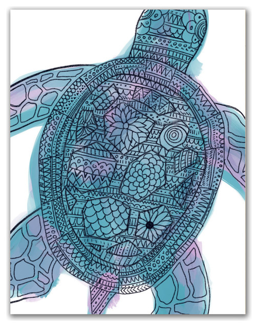 4ac20dfc513a0 Tribal Sea Turtle Boho Art Print - Beach Style - Prints And Posters - by  Jetty Home
