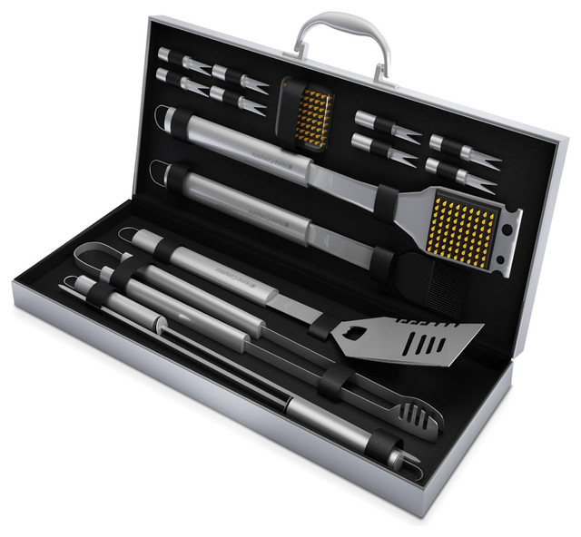 Bbq Grill Tool Set- 16 Barbecue Accessories With Aluminum Case By Home Complete.