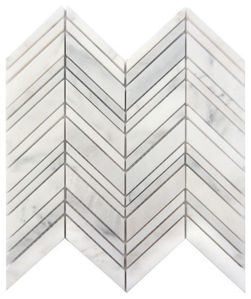 "Arabescato Carrara Chevron Interlocking Honed Tile, 50 Sq. Ft., 12""x12""."