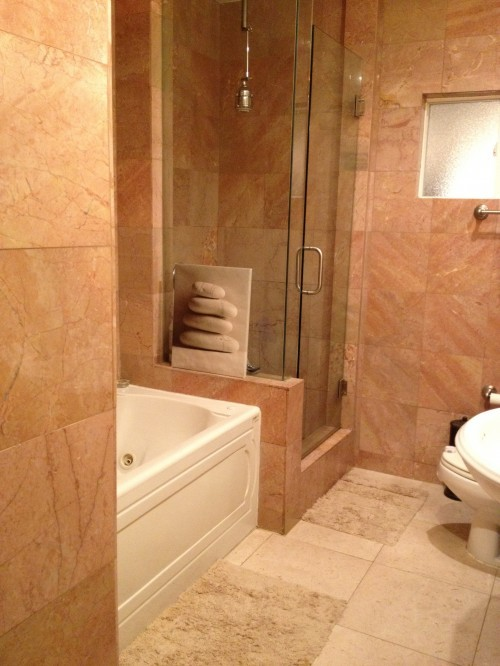 Can you paint over marble or tile on a bathroom wall for Salmon bathroom ideas