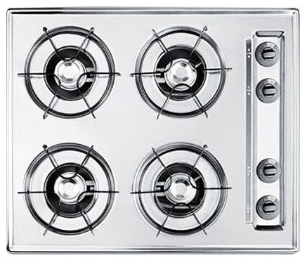 Summit 24 Gas Cooktop With 4-Burners And Gas Spark Ignition, Chrome.
