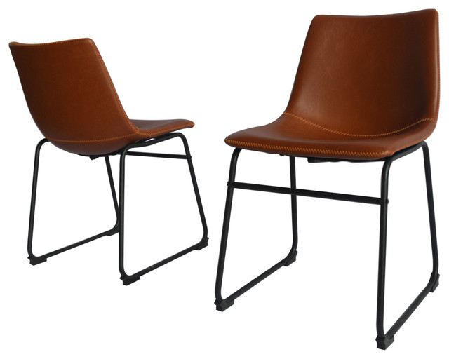 Genial Modern Faux Leather Dining Chair, Set Of 2, Bronze