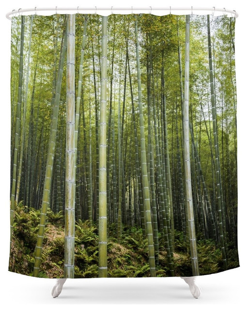 Society6 bamboo forest in green shower curtain asian for Forest green curtains drapes