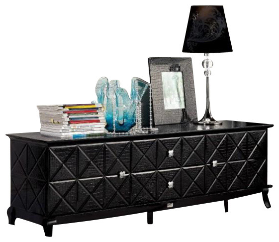 Ak538 180 Black Crocodile Lacquer Entertainment Console Centers And Tv Stands By New York Furniture Outlets Inc