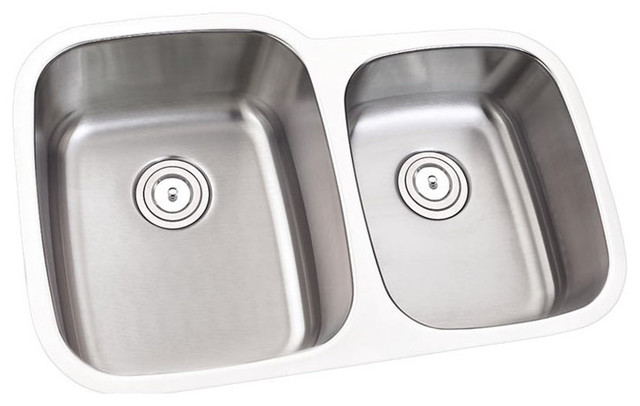 32   stainless steel undermount double bowl kitchen sink 16 gauge left contemporary  32   stainless steel undermount double bowl kitchen sink   16 gauge      rh   houzz com