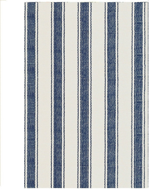 Dash And Albert Blue Awning Stripe Cotton Woven Rug