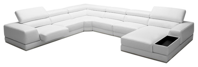 Divani Casa Chrysanthemum, Modern White Eco-Leather Sectional Sofa.