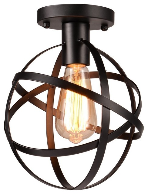 1-Light Metal Globe Chandelier With Cage Flush Mount Ceiling Light Fixture.
