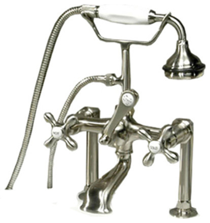 Clawfoot Tub Faucet Hand Held Shower 6 Deck Mount Risers Brushed