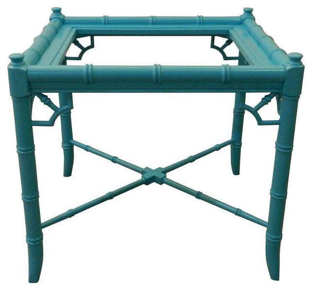 Vintage turquoise faux bamboo end table for Bamboo side table