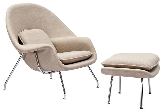 Superbe Modern Contemporary Lounge Chair U0026 Ottoman, Eva Lounge, Off White