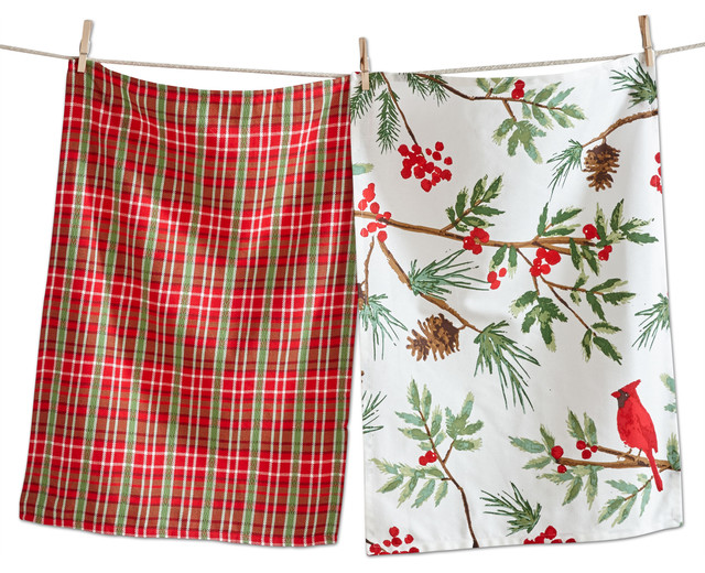 Tag Christmas Cardinal Dishtowel Set Of 2 Rustic Dish Towels By Quest Products Inc