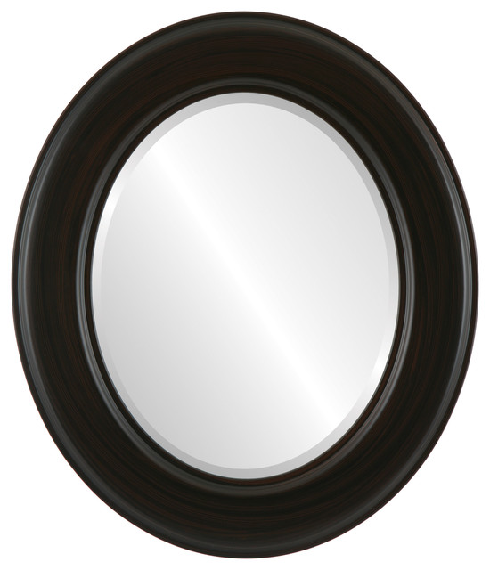 "Marquis Framed Oval Mirror In Black Walnut, 31""x37""."