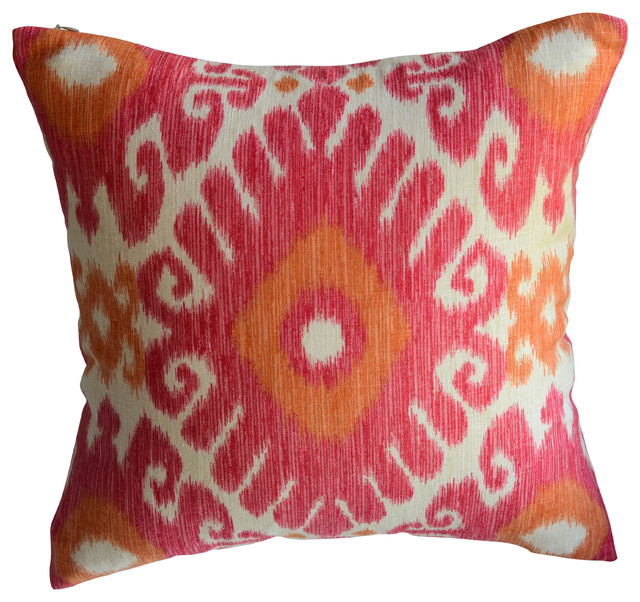 Pink and Orange Ikat Decorative Pillow - Decorative Pillows - by KH Window Fashions, Inc.