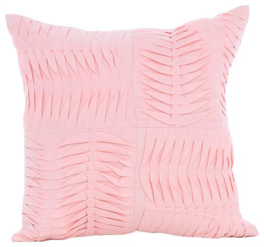 Textured Pintucks Pink Cotton Linen Throw Pillow Cover, Pinch Of Love - Modern - Decorative ...