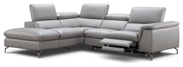 Viola Italian Leather Sectional Sofa With Power Recliner, Left Hand Facing.