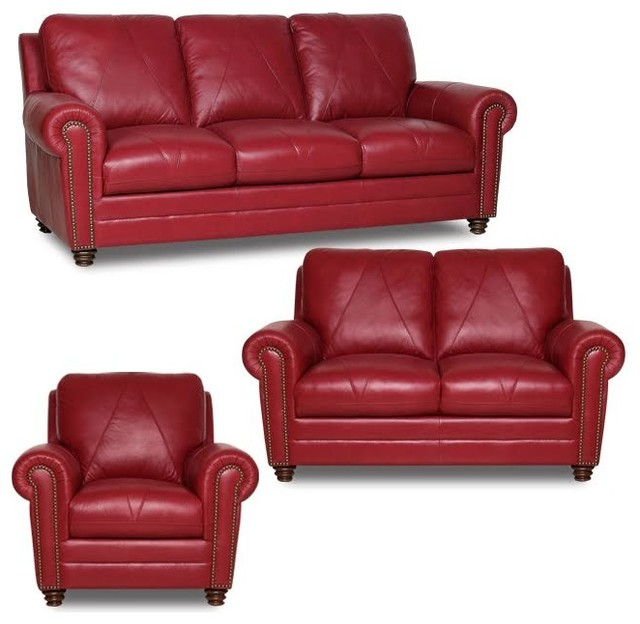 Luke leather weston sofa chair and ottoman set cherry - Red leather living room furniture set ...