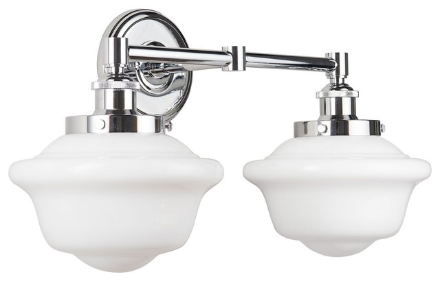 newest 2b091 46fbc Lavagna 2 Light Schoolhouse Wall Sconce with Milk Glass, Polished Chrome