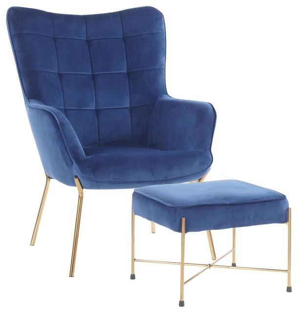 Izzy Contemporary Lounge Chair/Ottoman Set, Gold Metal/Blue Velvet Fabric