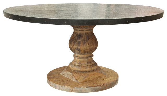 Charmant Zinc Top Table, Old Wood
