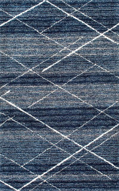 Hand-Tufted Central Diamonds Shag Rug, Blue, 5&x27;x8&x27;.