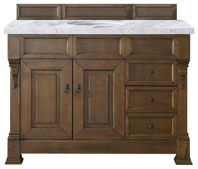 """Brookfield Single Vanity With Drawers With 4cm Carrara White Marble Top, 48""""."""